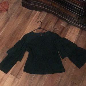 Madewell green ruffle sleeve silk top